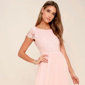 The Greatest Blush Pink Lace Maxi Dress Large